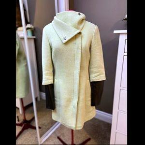 Faux Leather Sleeve Coat